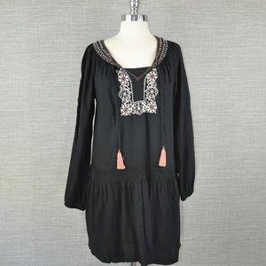 Sanctuary Black Embroidered Boho Dress - S